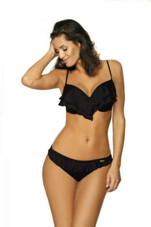 Trendy dámské černé dvoudílné plavky zdobené volánkem