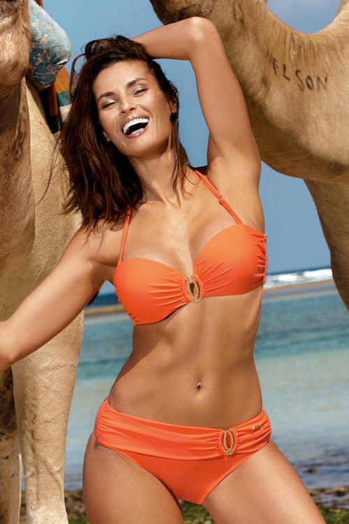 moderní dámské dvoudílné oranžové plavky