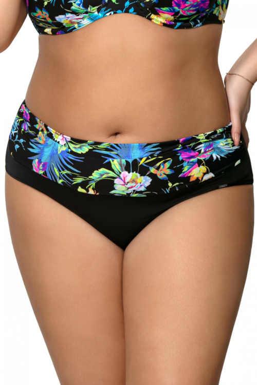 plavkové vysoké květované kalhotky
