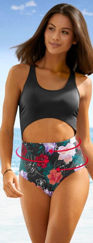 Černé jednodílné stahovací plavky s průstřihem na břichu a květovaným spodním dílem